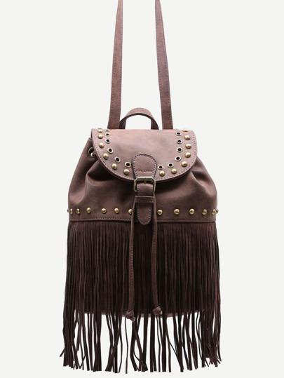 Coffee PU Tassel Fringe Studded Drawstring Flap Backpack