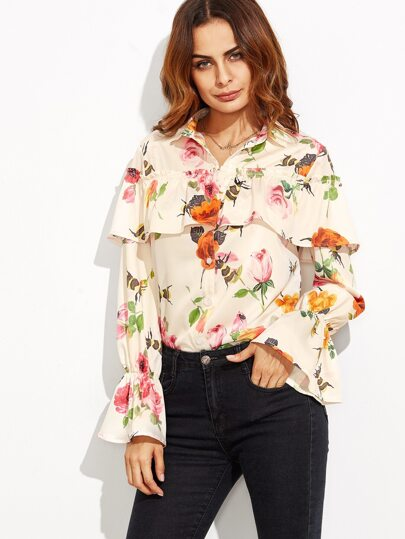 Floral Print Ruffle Bell Sleeve Blouse