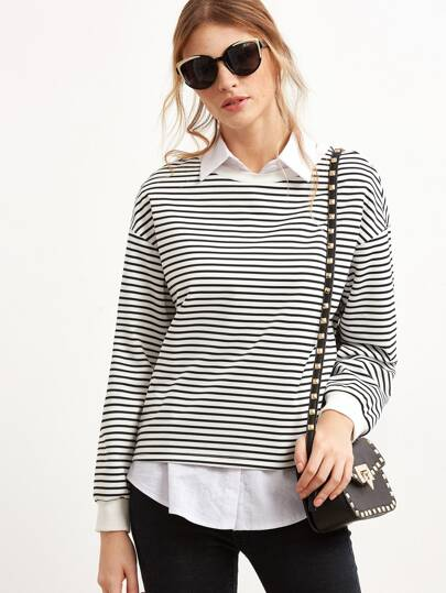 Black And White Stripe Drop Shoulder Sweatshirt