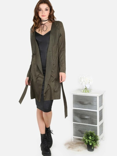 Faux Suede Belted Waist Lapel Coat OLIVE