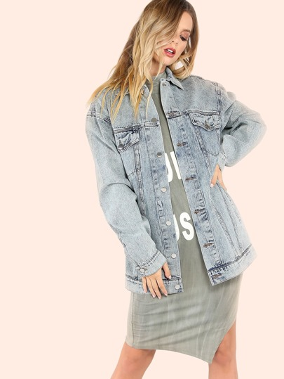 Mineral Wash Oversized Denim Jacket BLUE