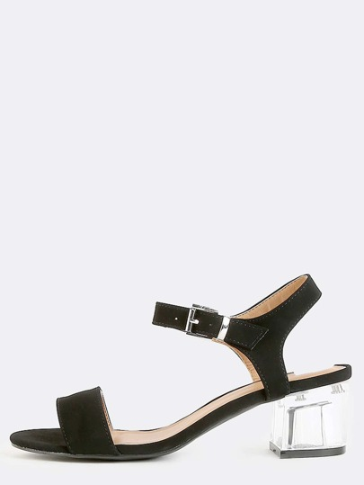 Open Toe Crystal Block Heels BLACK