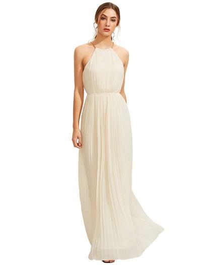 Evening Halterneck Pleated Full Length Dress