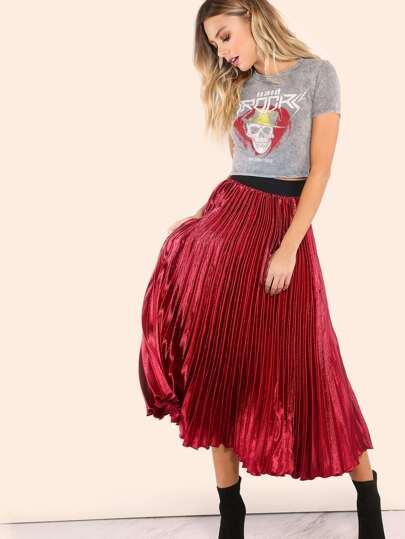 Pleated Silk Midi Skirt WINE