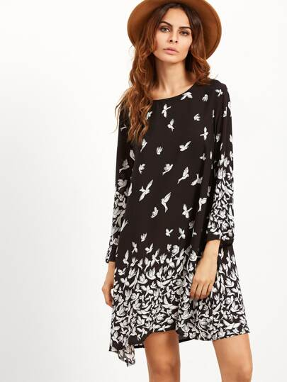 Black Pigeon Print Tunic Dress