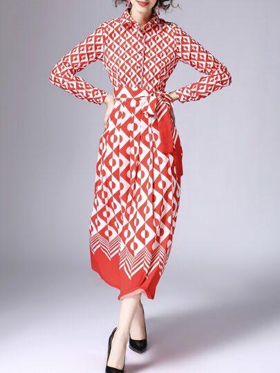 Vestido con lazo en la cintura y estampado - rojo