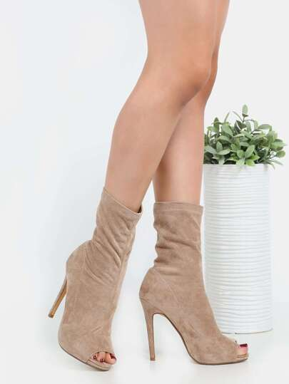 High Shaft Faux Suede Ankle Booties NUDE