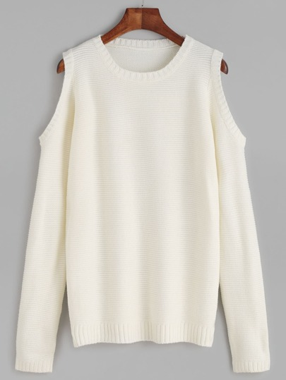 White Open Shoulder Pullover Sweater