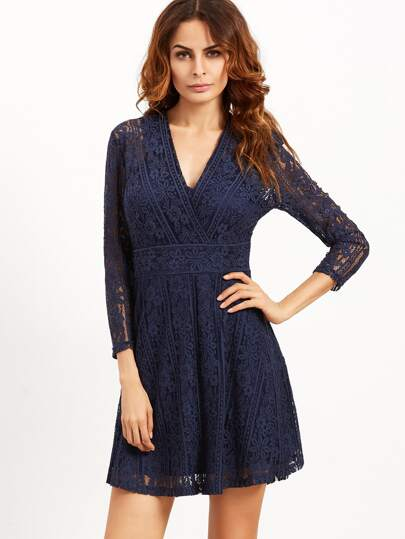Navy V Neck Three Quarter Length Sleeve Lace Dress