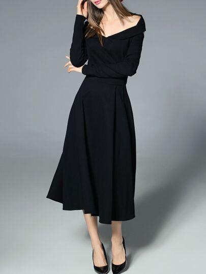 Vestido escote V con abertura en espalda - negro