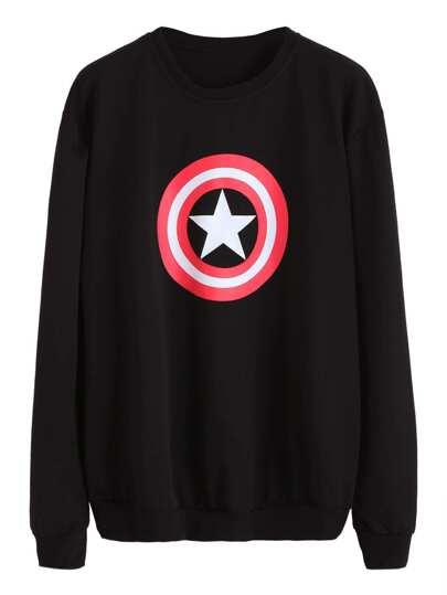Black Star Print Sweatshirt