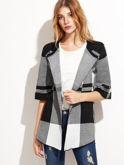 Color Block Geo Pattern Elbow Sleeve Coat