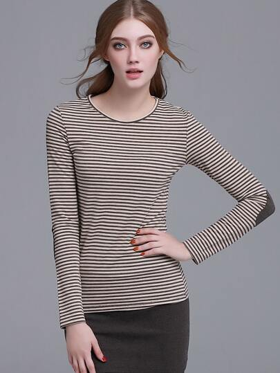 Brown Striped Elbow Patch Long Sleeve T-shirt