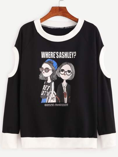 Contrast Trim Girls Print Cutout Shoulder Sweatshirt