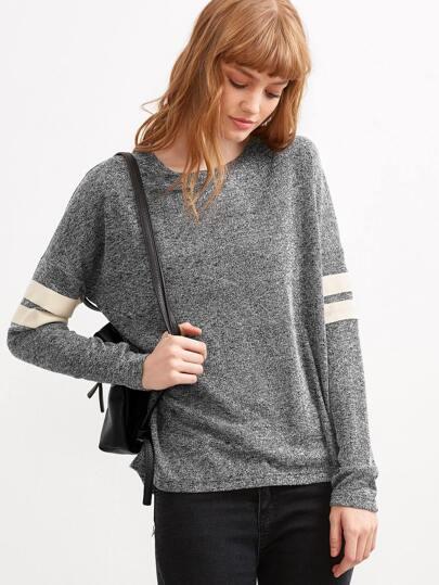 Grey Marled Knit Varsity Striped Sleeve T-shirt