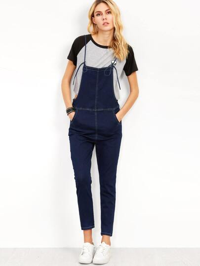Navy Knotted Strap Denim Overall Pants