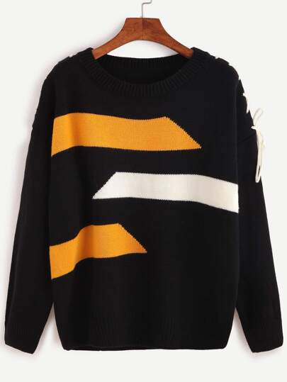 Black Geometric Print Lace Up Sweater