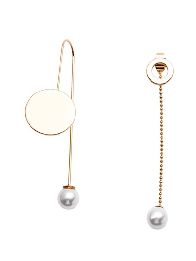 Gold Plated Faux Pearl Geometric Asymmetrical Earrings