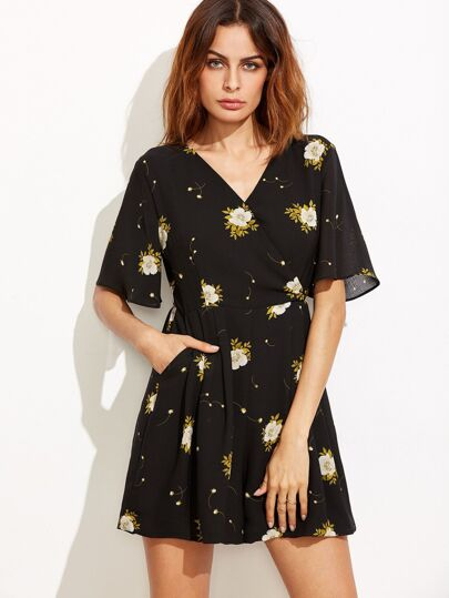 Black Flower Print V Neck Wrap Front Romper