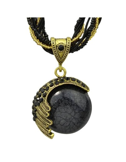 Black Beads Chain Pendant Necklace