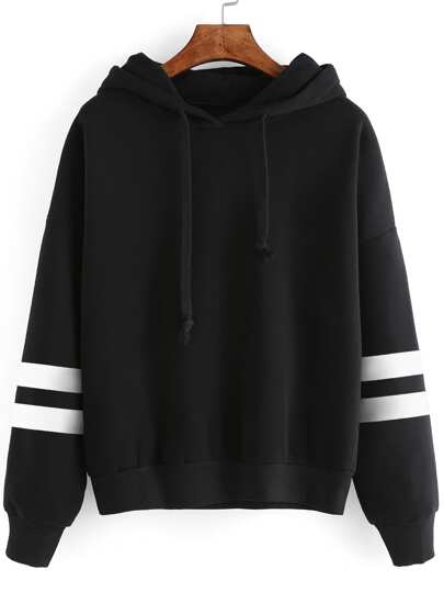 Varsity Striped Drop Shoulder Hooded Sweatshirt