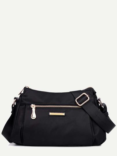 Black Nylon Zip Closure Shoulder Bag