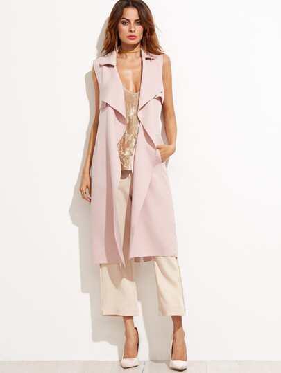 Pink Lapel Sleeveless Long Coat