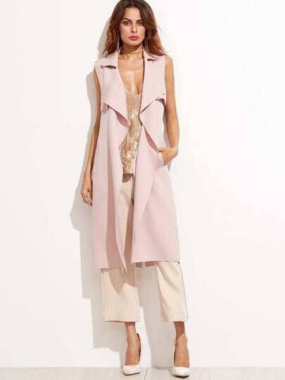 Abrigo largo sin mangas con solapa - rosa