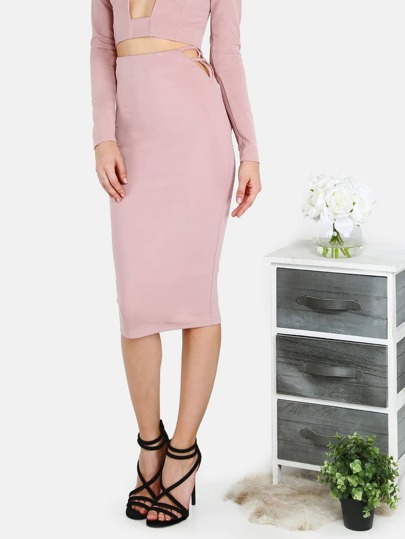 Strappy Hip Midi Skirt MAUVE