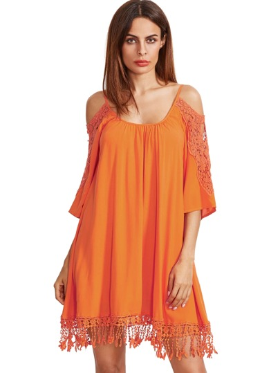 Orange Open Shoulder Crochet Lace Sleeve Tassel Dress