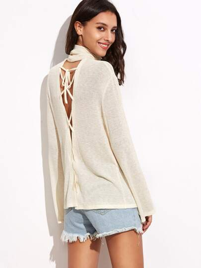 Beige Cowl Neck Lace Up Back Lightweight Sweater
