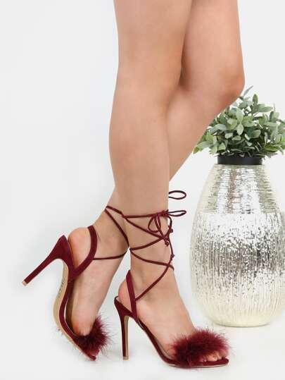 Zapatos de tacón de ante con pluma y cordón - borgoña