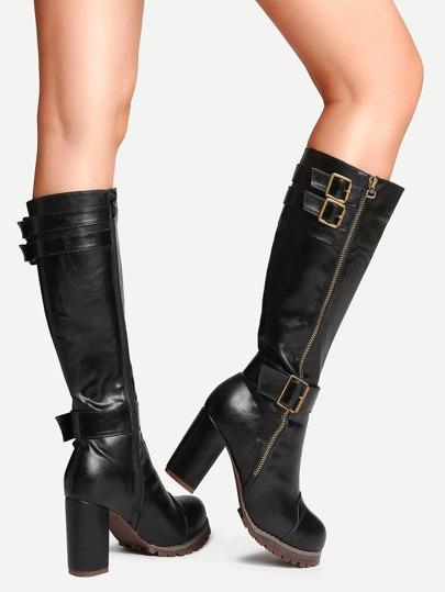 Black PU Round Toe Buckle Strap Chunky Heel Knee Boots