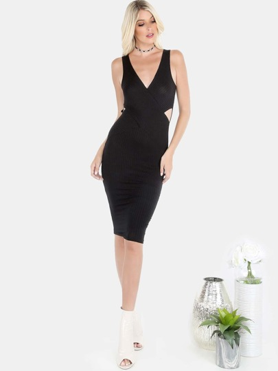 Ribbed Crossover Midi Dress BLACK