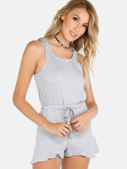 Rib Knit Jersey Waist Tie Romper HEATHER GREY
