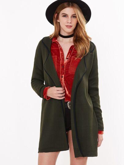 Olive Green Contrast Binding Drop Shoulder Sweater Coat