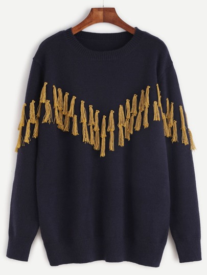 Navy Contrast Fringe Embellished Drop Shoulder Sweater