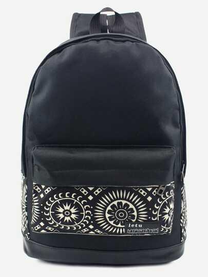 Canvas Rucksack mit Taschem vorne Tribal Druck -schwarz