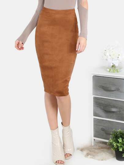 Suede Back Slit Pencil Skirt COCO