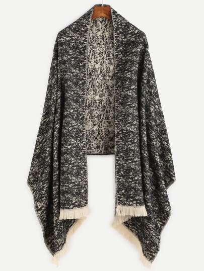 Bufanda con estampado y flecos - negro