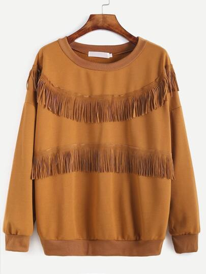 Khaki Drop Shoulder Fringe Trim Sweatshirt