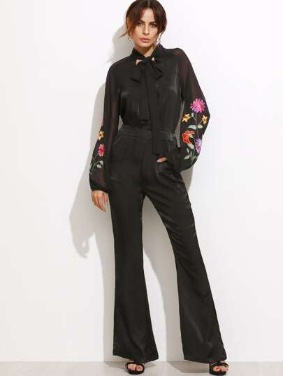 Black Tie Neck Sheer Sleeve Embroidered Flare Jumpsuit
