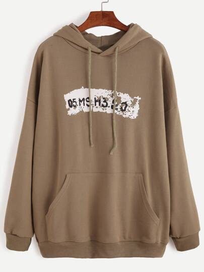 Army Green Letter Print Hooded Sweatshirt