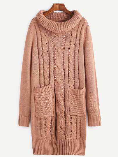 Pink Cable Knit Turtleneck Sweater Dress With Pocket