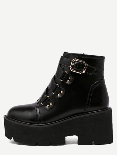 Black PU Buckle Strap Platform Ankle Boots