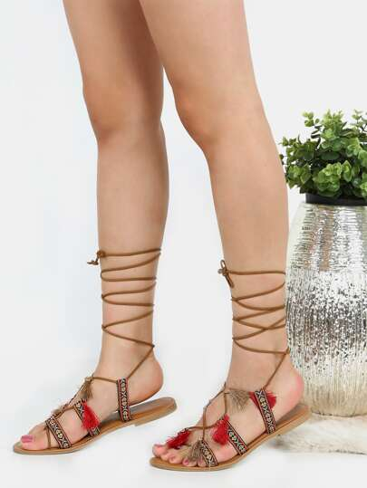 Embroidered Tribal Inspired Lace Up Sandals TAN
