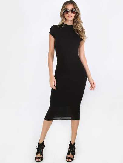 Black High Neck Short Sleeve Sheath Midi Dress
