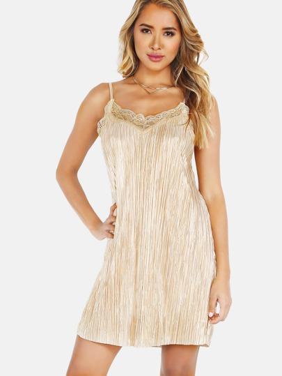 Pleated Lace Trim Cami Dress CREAM