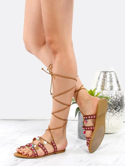 Tie Up Embroidered Boho Sandals RED