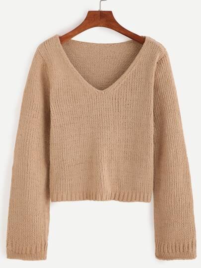 Khaki V Neck Crop Sweater